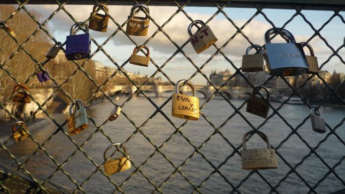 Love locks on Pont des Arts bridge in Paris