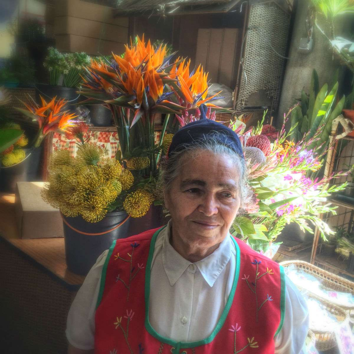Market in Funchal, Madeira: flower lady