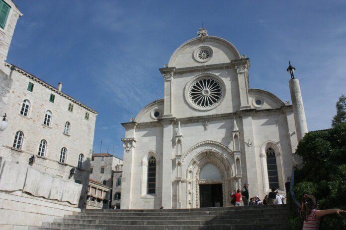 The dome-side view of the Catholic basilica in Šibenik, Croatia