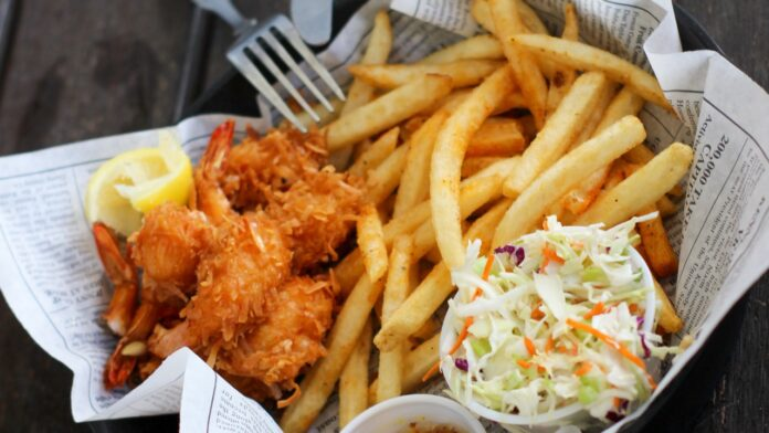 A classic serving of the popular fish and chips with coleslaw