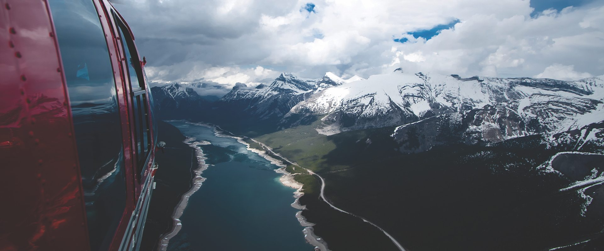 Helicopter ride over the Banff National Park