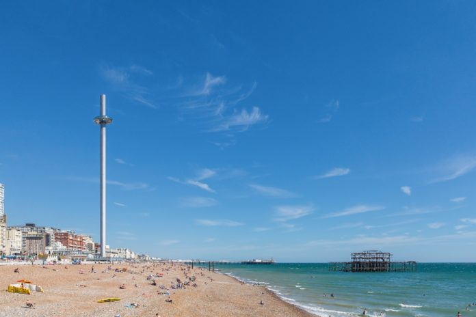 BA i360 and West Pier from beach