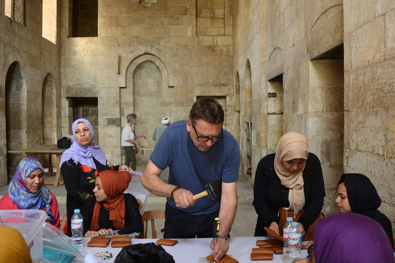 Bill Amberg leads a leather workshop in Cairo