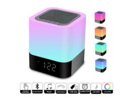 Bluetooth speaker with touch sensor lamp and alarm clock