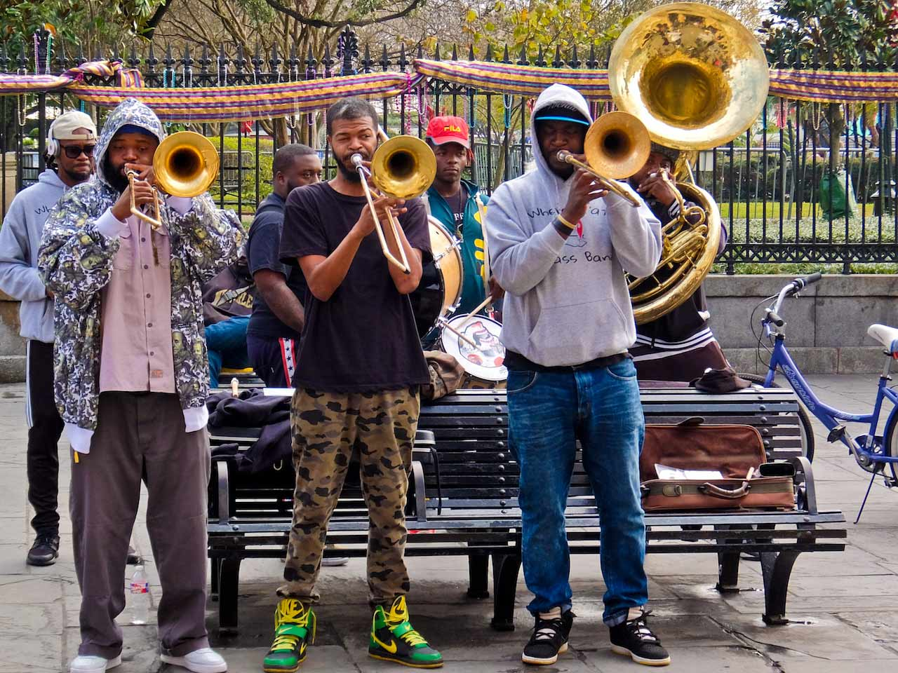 Brass band playing at Jackson Square, New Orleans