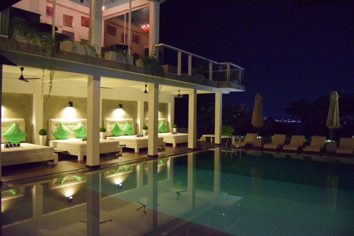 Cantaloupe Levels pool at night