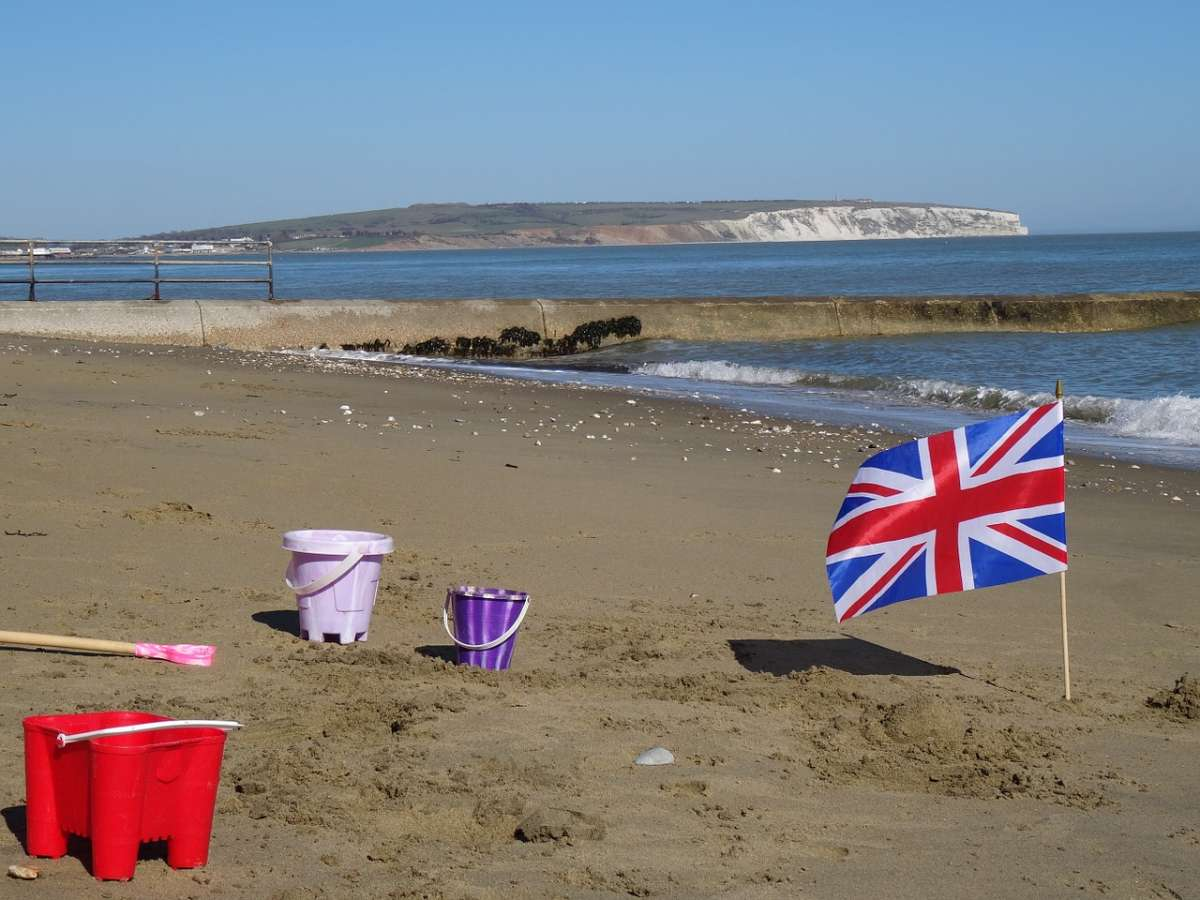 Children's toys on Shanklin Beach, Isle of Wight
