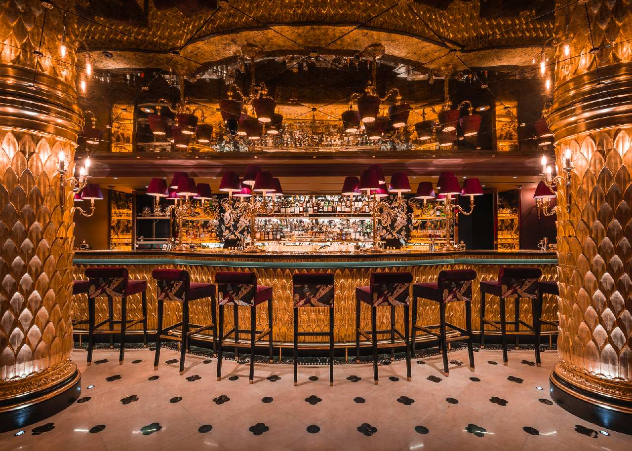 The gilded bar at Club Chinoise in Mayfair