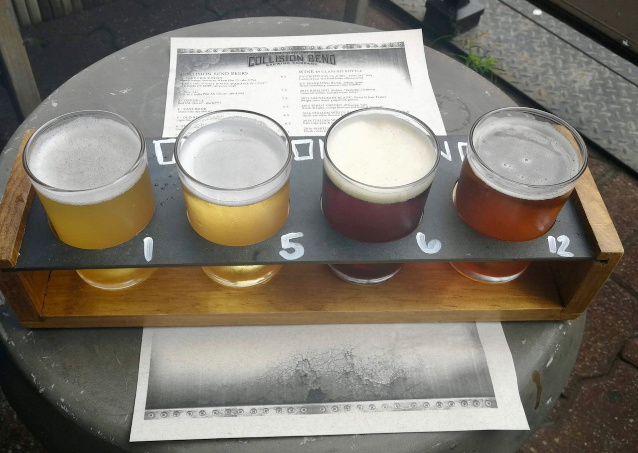 Beer flight at Collision Bend Brewery