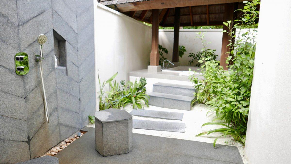 Conrad Maldives outdoor shower and bath