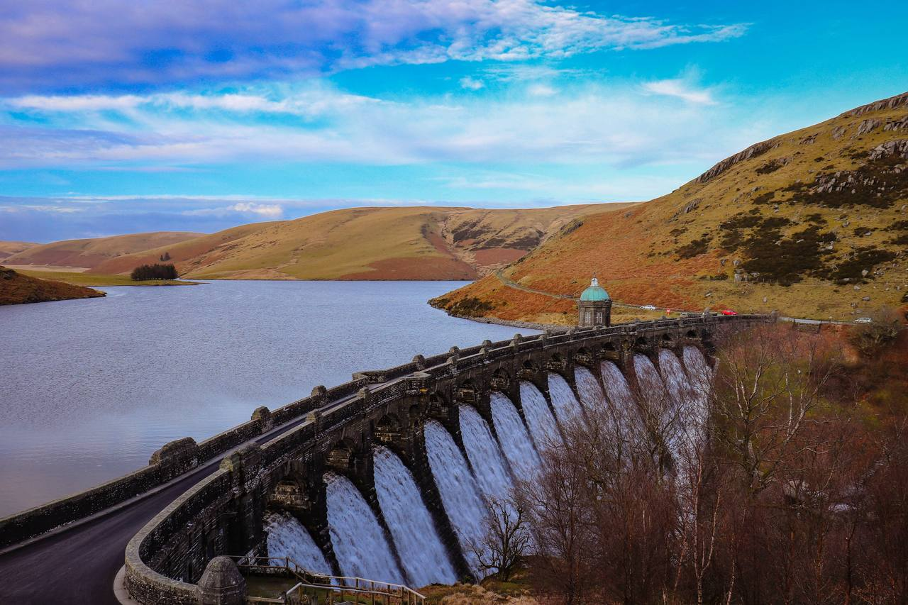 spectacular dams and reservoirs of the Elan and Claerwen Valleys