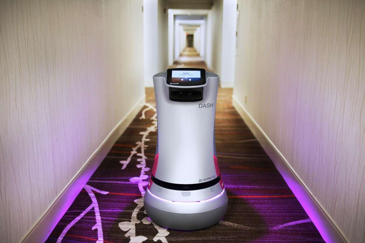 Dash robot concierge at the Crown Plaza