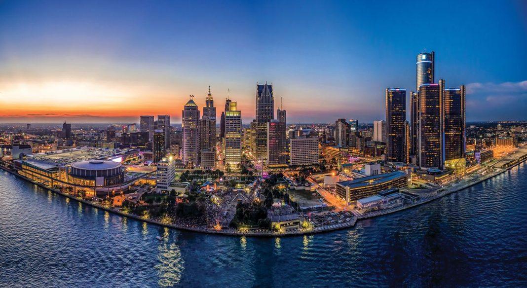 Detroit skyline in the evening.