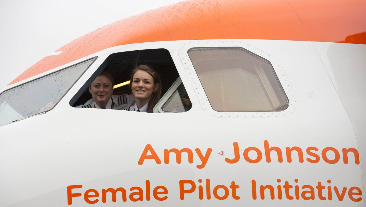 International Women's Day Easyjet celebrates the day with an all female flight and ground operating crew. Captain Kate McWilliams, 27 - worldÕs youngest female commercial Captain First officer Sue Barrett