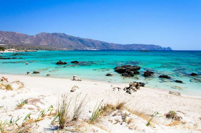 Elafonissi beach, with pinkish white sand and turquoise water