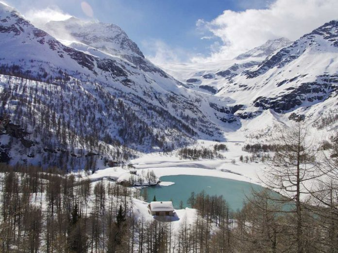 Engadin Valley frozen lake