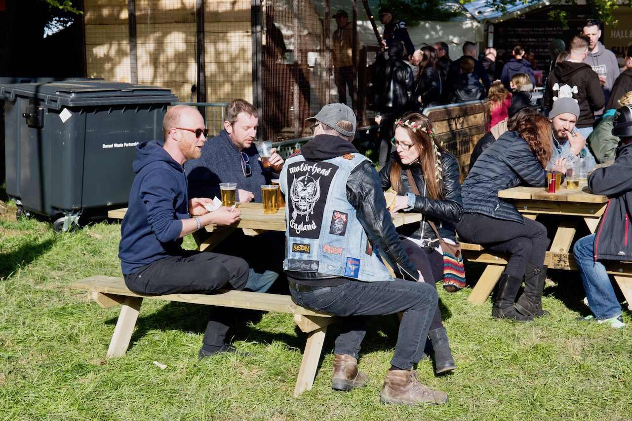 Merry revellers enjoying a pint