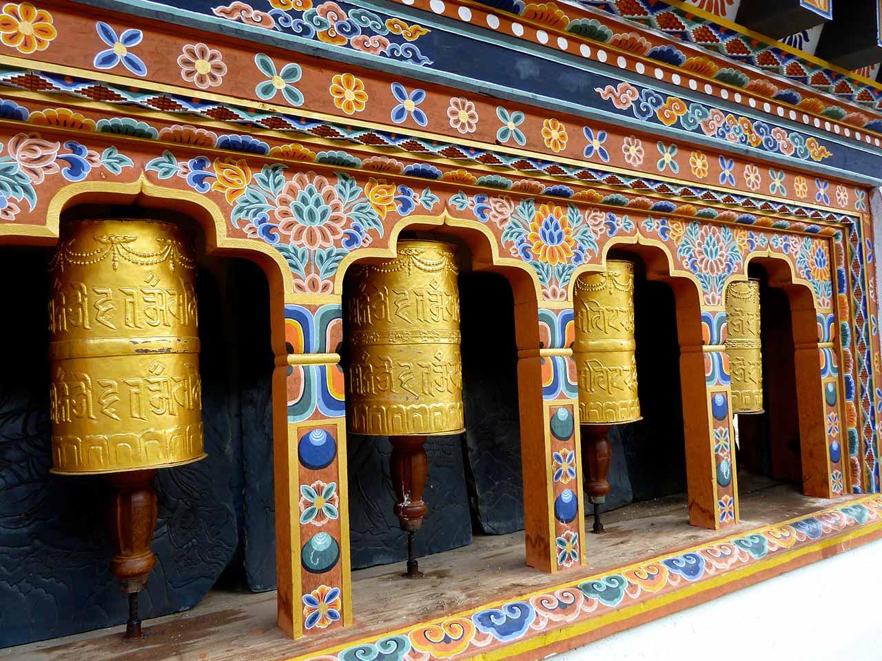 Prayer Wheels at Gangtey Monastery in Phobjikha Valley