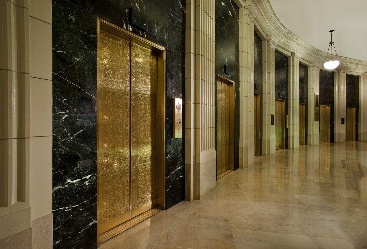 Gold lift doors