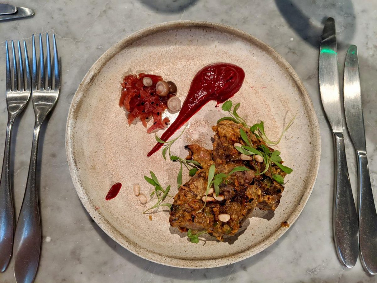 Grilled pigeon breast with beetroot ketchup
