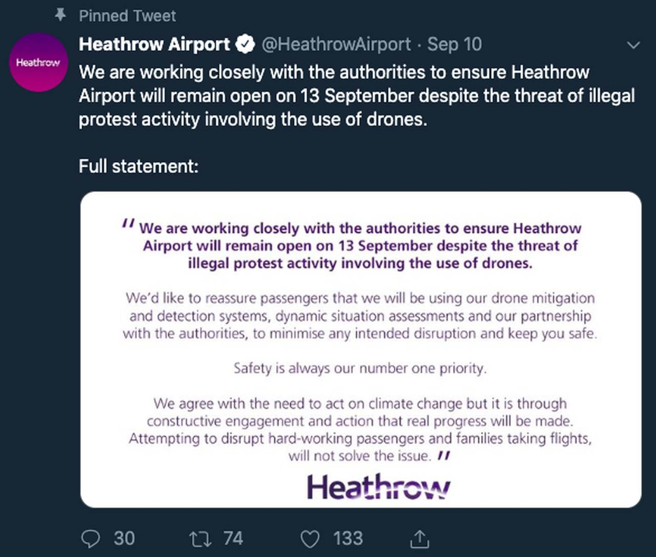 Tweet from Heathrow airport