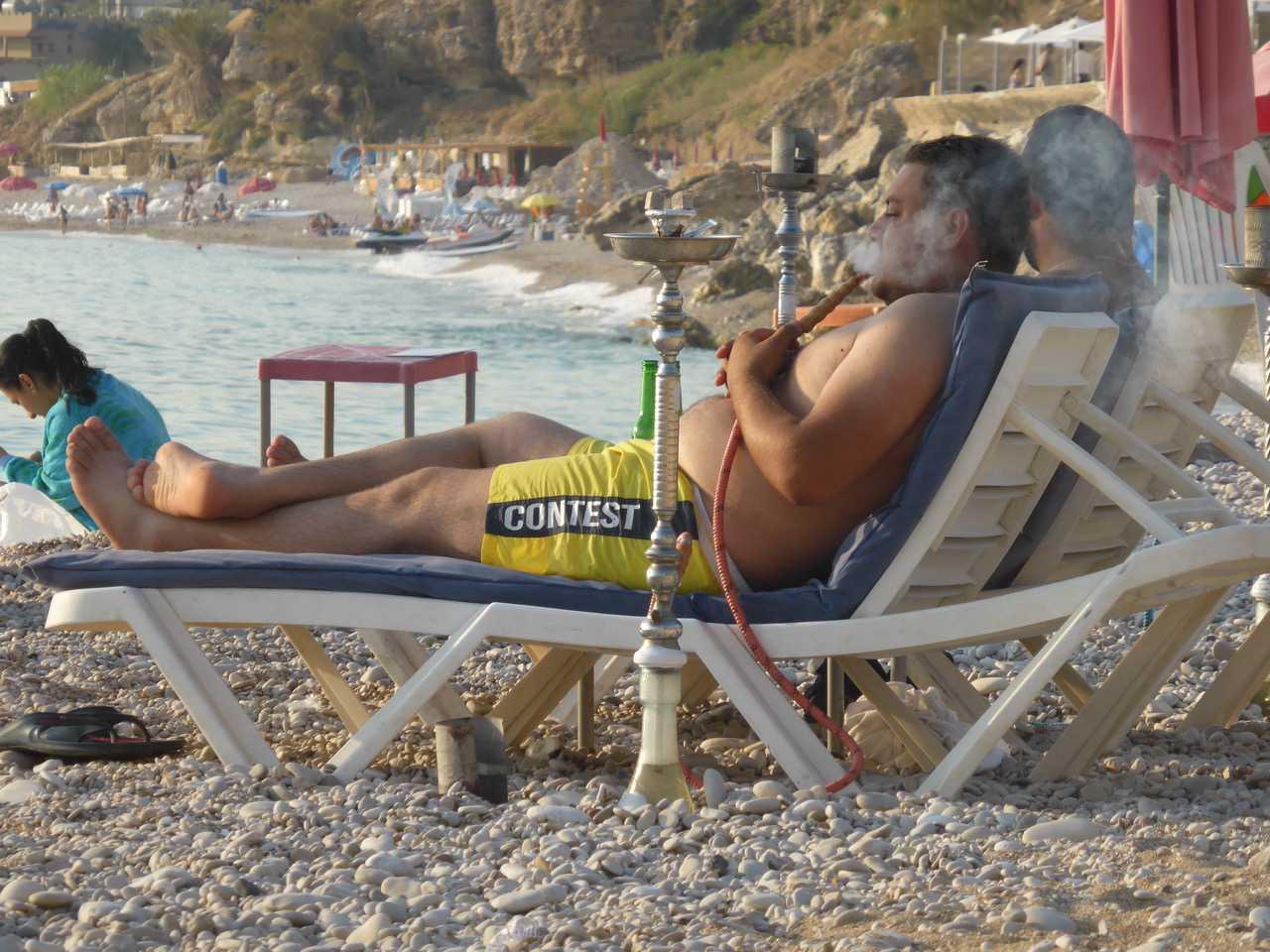 Hiring a hookah on the Beach, Beirut