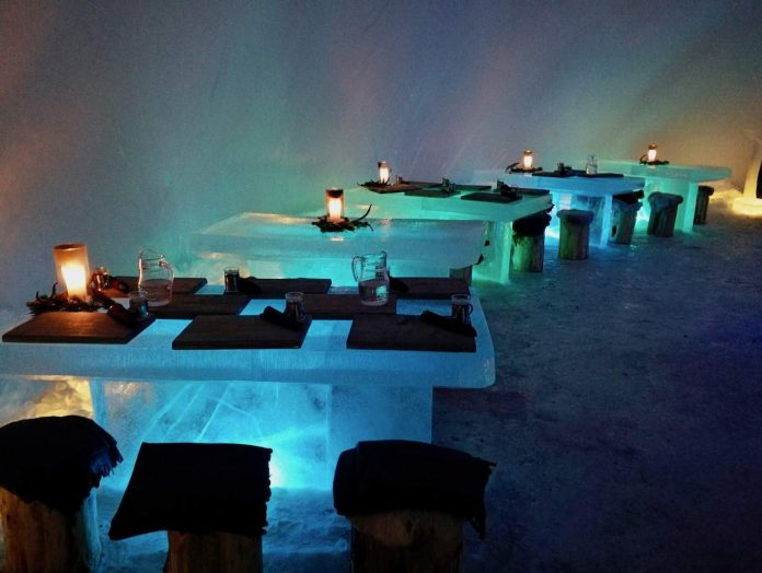 Eat off frozen tables at the Ice Bar and Restaurant