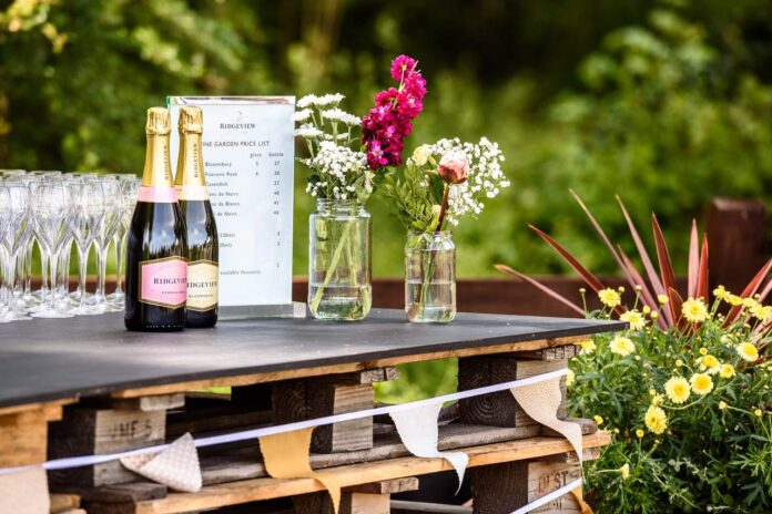 Enjoying the sunshine, sparkling wine and other local produce at Ridgeview Garden
