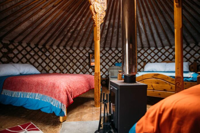 Inside one of the spacious yurts at Fir Hill Estate
