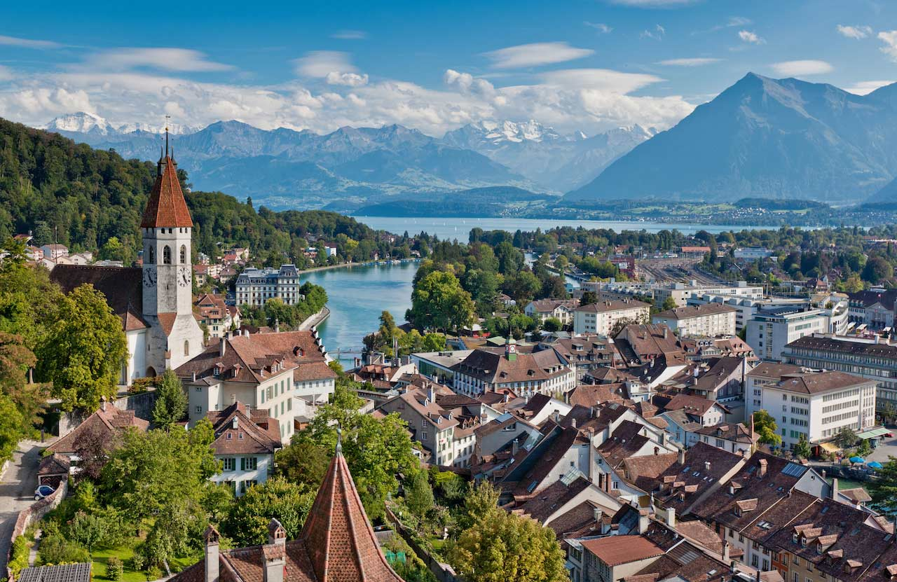 Interlaken - View of the town of Thun with Castle Thun