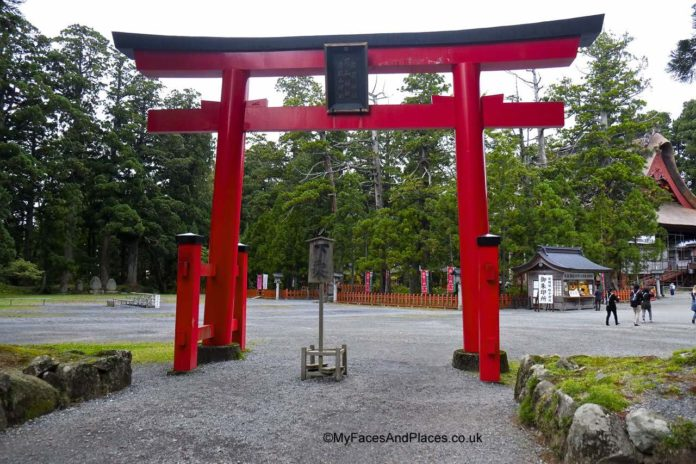 Japan - The Torrii sacred gateway to Sanjin Gosaiden temple on Mt Haguro