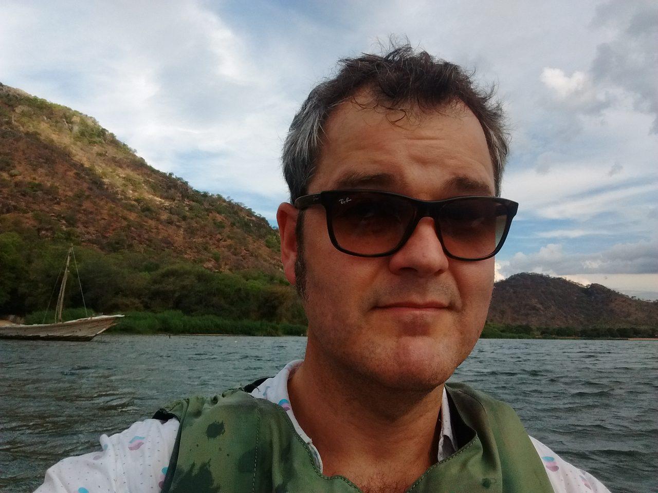 Karl kayaking on Lake Malaw