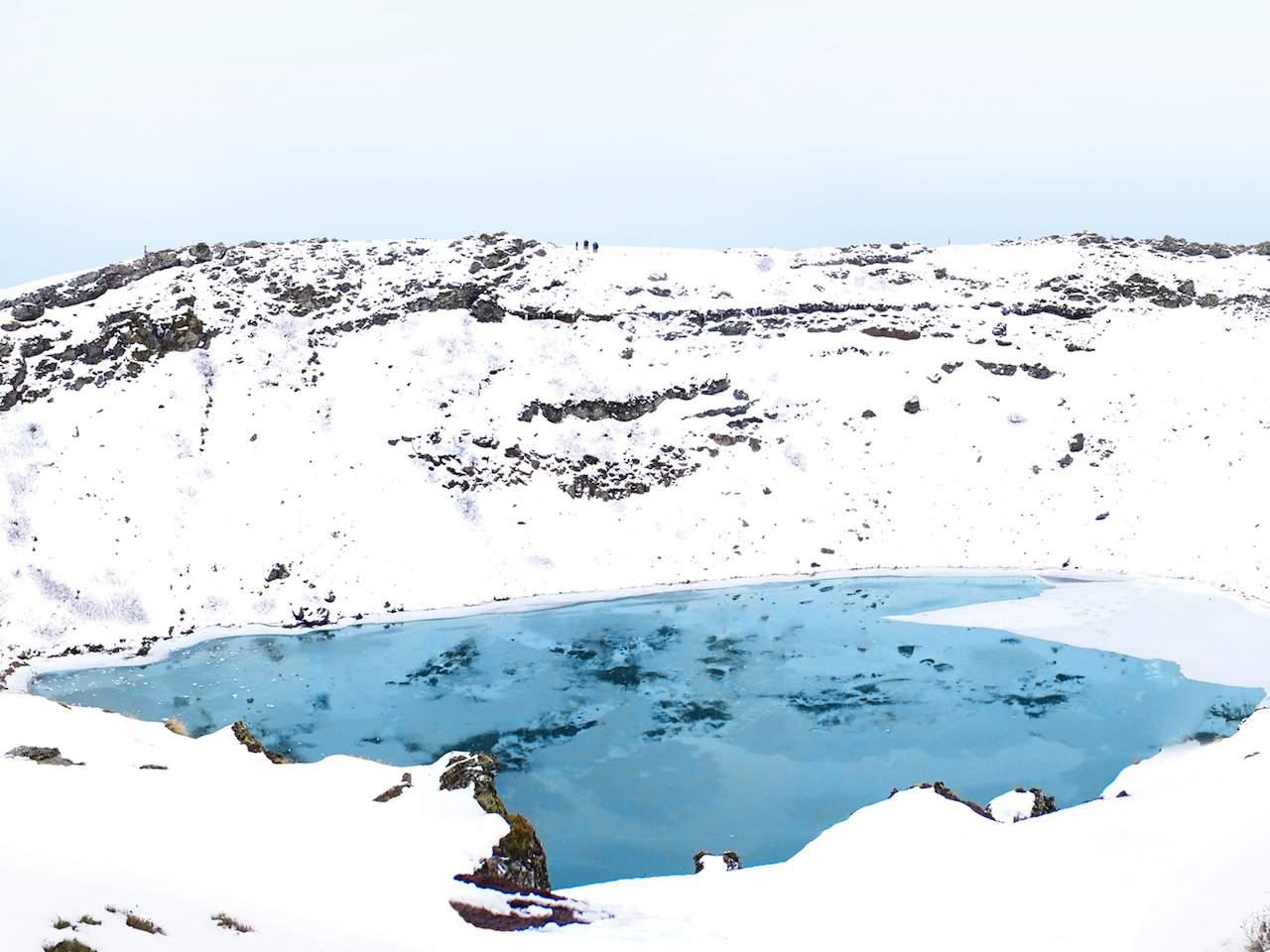 Kerid Volcano in winter