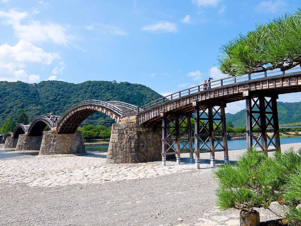 Kintai Bridge with Castle on Hill
