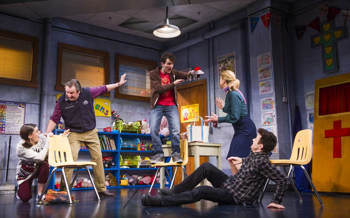Jemima Rooper (Jessica), Neil Pearson (Pastor Greg), Harry Melling (Jason), Janie Dee (Margery) and Kevin Mains (Timothy) in Hand to God