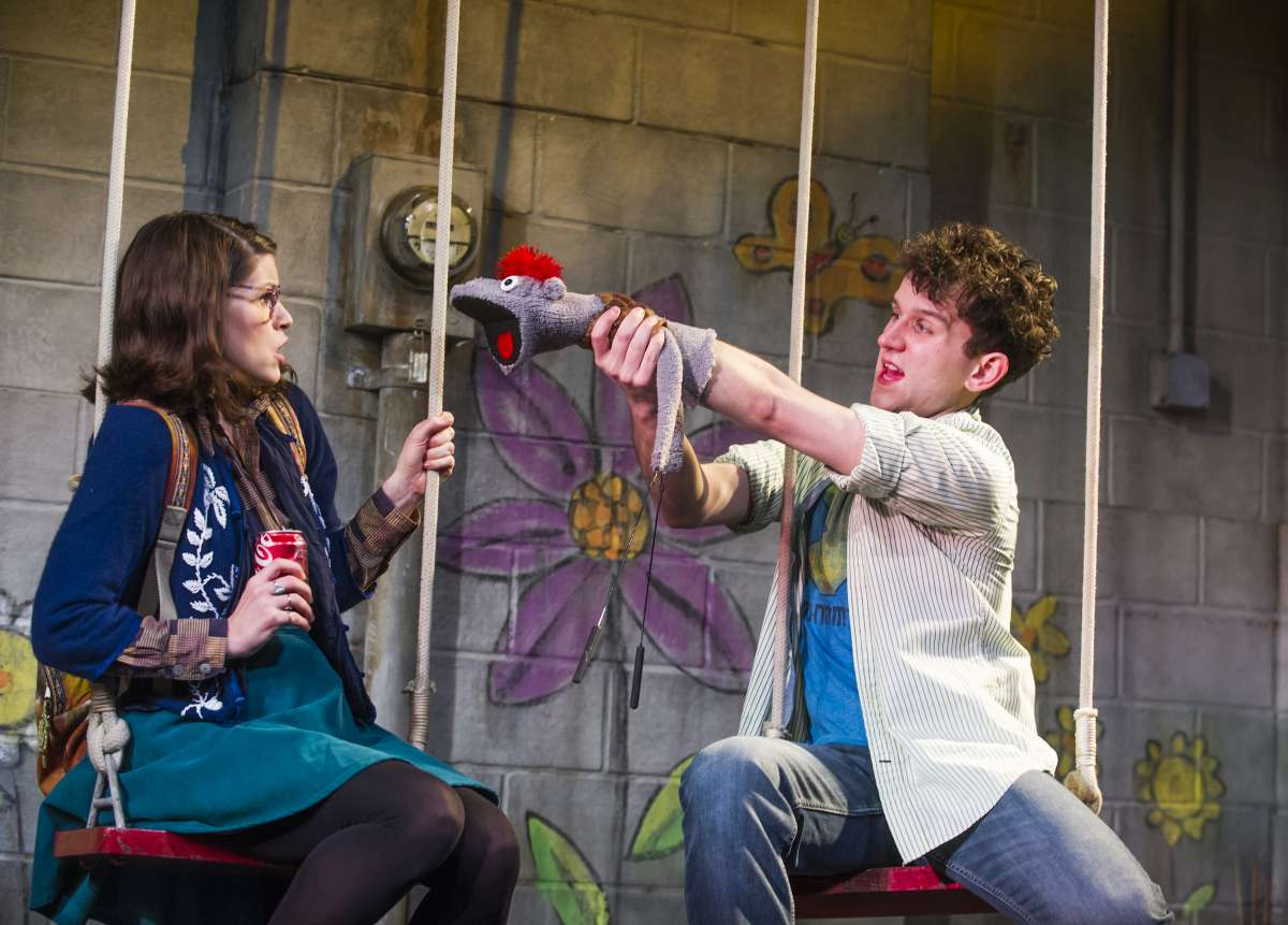 Jemima Rooper (Jessica) and Harry Melling (Jason) and Tyrone in Hand To God