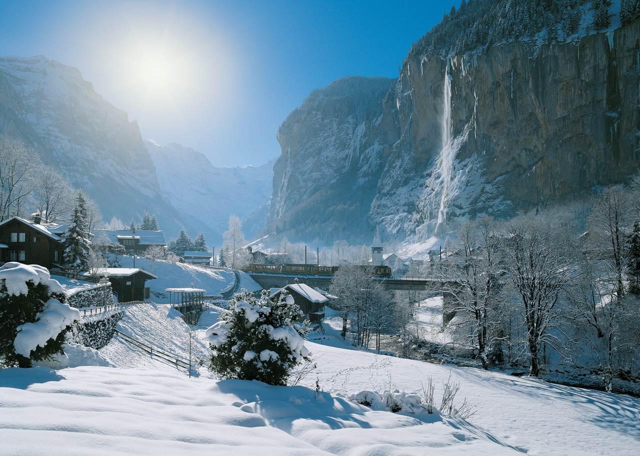 Wengernalpbahn at Staubbach falls, Lauterbrunnen, Bernese Oberland.c. Jungfraubahnen AG/Swiss Travel System