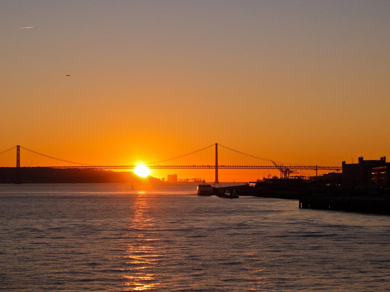 Leaving Lisbon at sunset