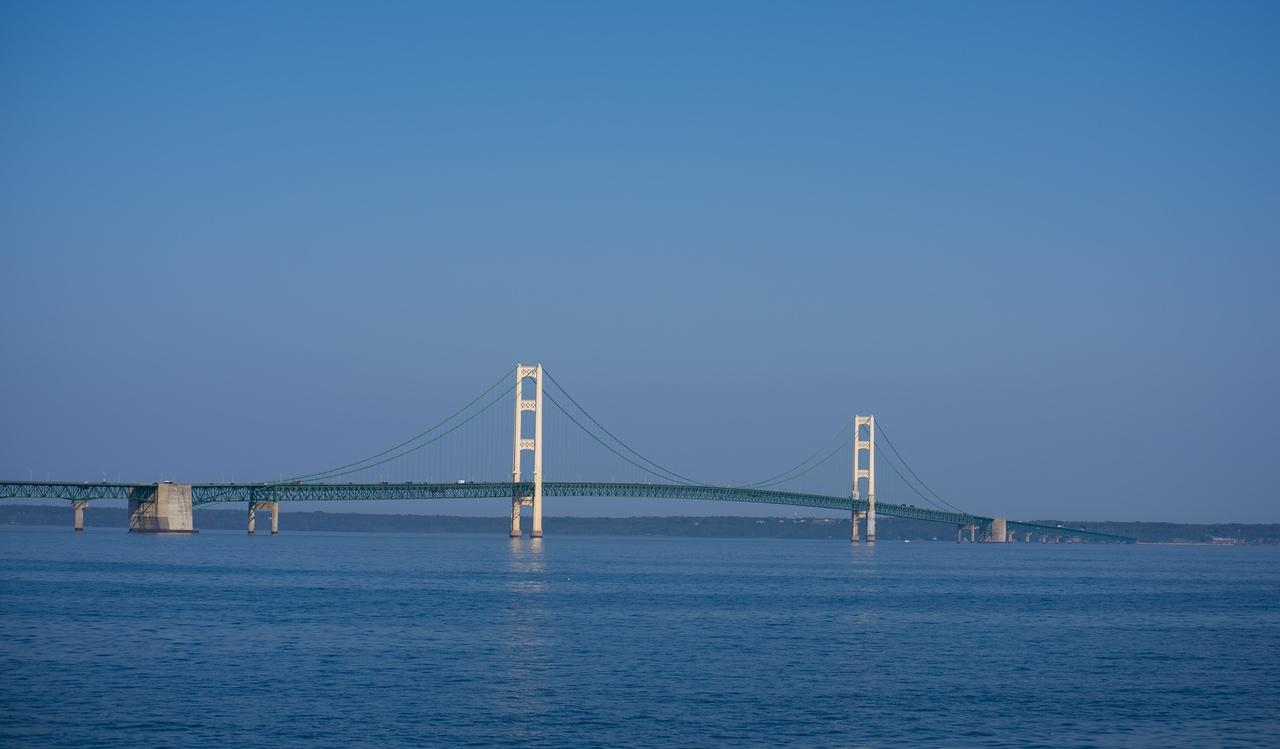 Mackinaw bridge - five mile suspension bridge