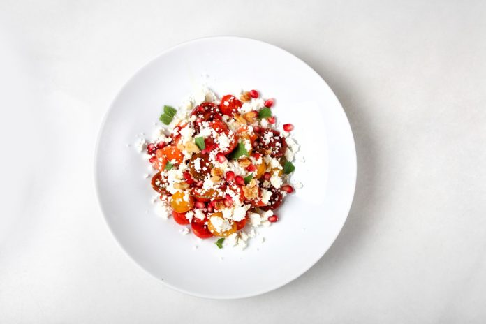 Mark Fosh- Tomato, pomegranate & feta salad