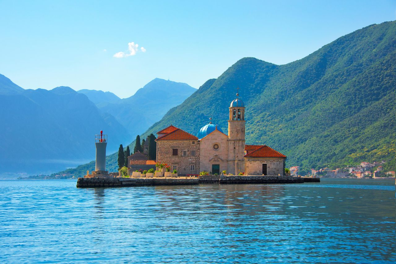 Our Lady of the Rocks, an artificial island, with the Roman Catholic Church of Our Lady of the Rocks, Perast, Montenegro