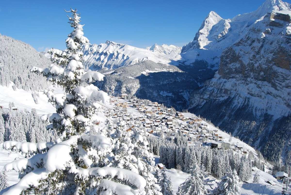 The small mountain village of Murren in Switzerland
