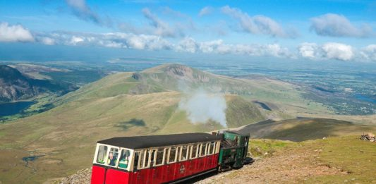 Narrow gauge train heading for Snowdonia
