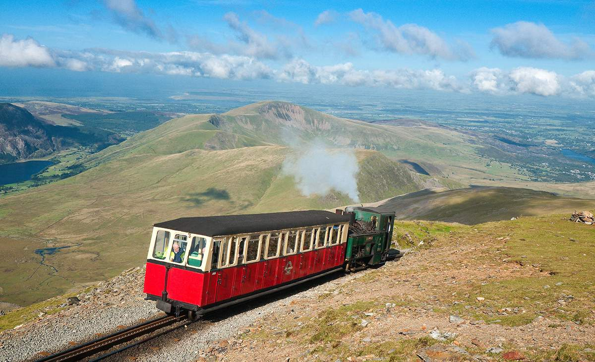 Narrow gauge train heading for Snowdonia