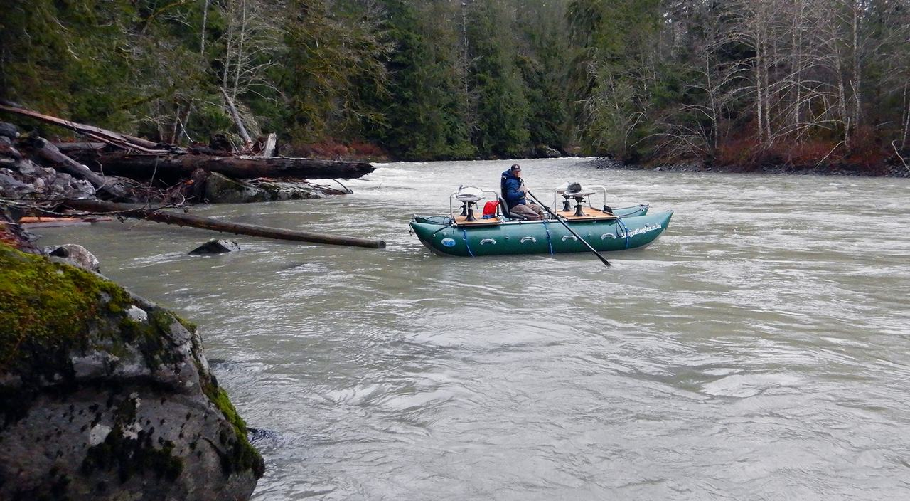 Floating in a pontoon on Nooksack river