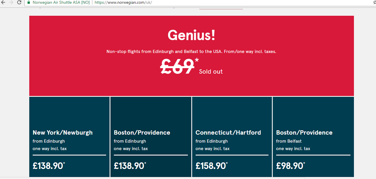 Norwegian 69 Fares Are Sold Out