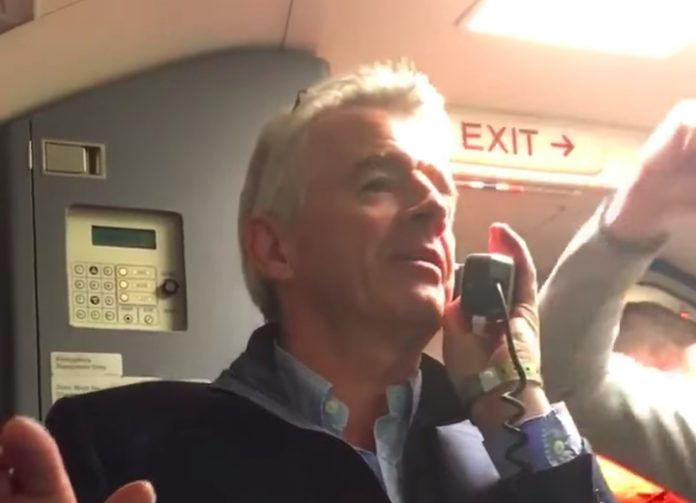 O'Leary announcing 2 free drinks on Ryanair flight