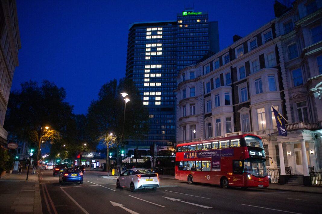 Open lights on Holiday Inn, Kensington, London, 13th May 2021