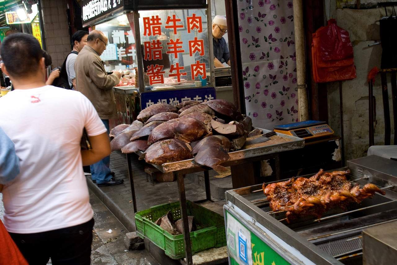 Offal for sale at the Muslim market in Xi'an