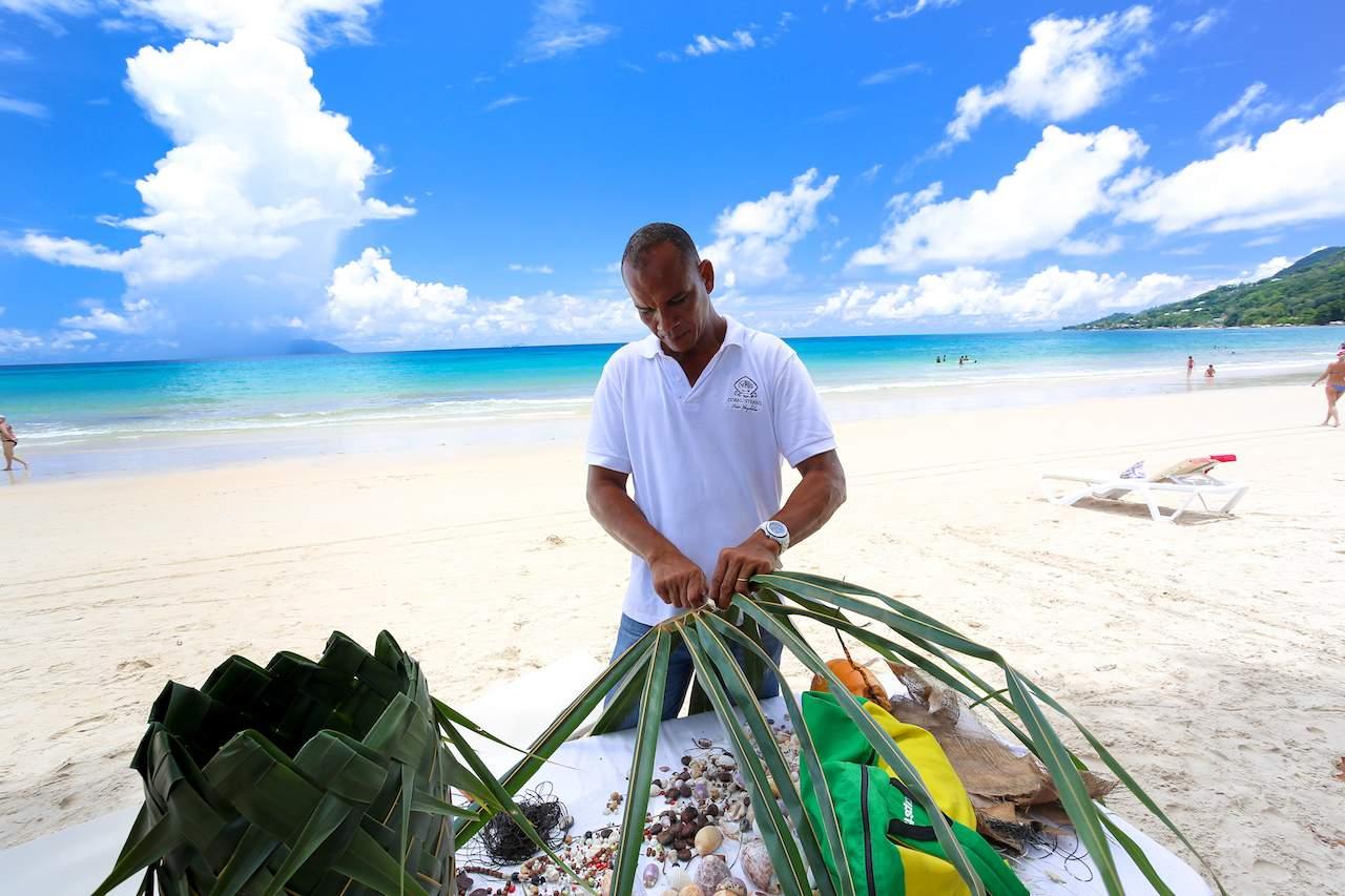 Palm leaf basket weaving